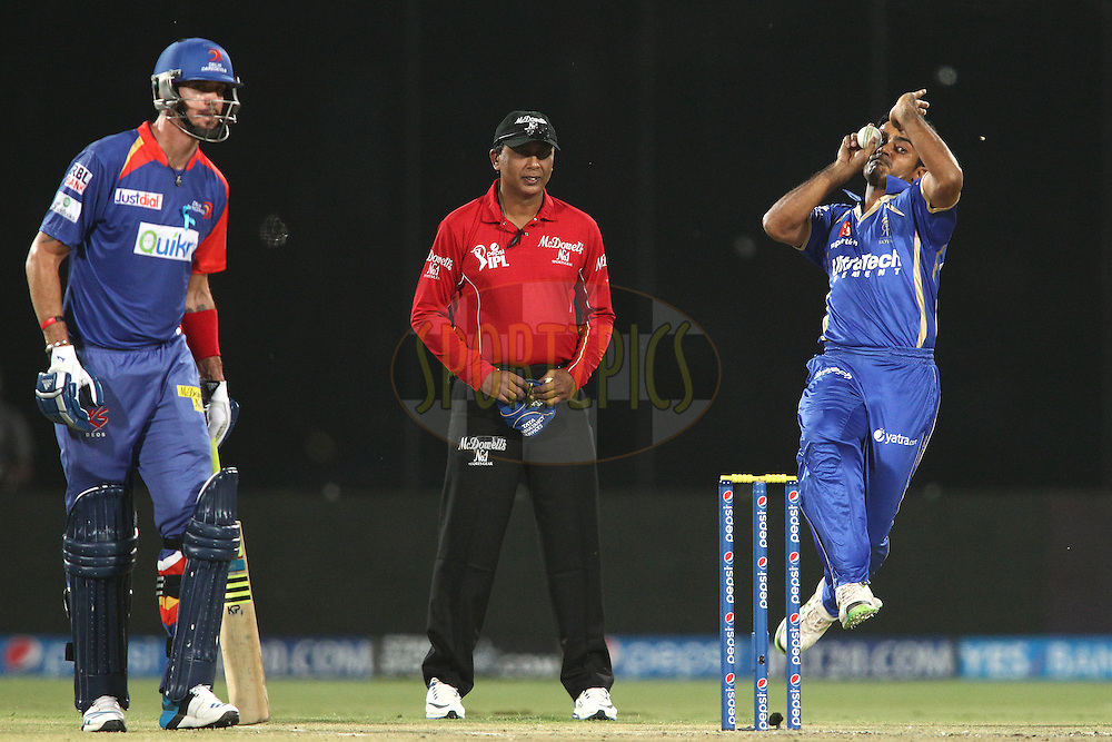 Rajat Bhatia of the Rajasthan Royals sends down a delivery during match 23 of the Pepsi Indian Premier League Season 2014 between the Delhi Daredevils and the Rajasthan Royals held at the Feroze Shah Kotla cricket stadium, Delhi, India on the 3rd May  2014<br /> <br /> Photo by Shaun Roy / IPL / SPORTZPICS<br /> <br /> <br /> <br /> Image use subject to terms and conditions which can be found here:  http://sportzpics.photoshelter.com/gallery/Pepsi-IPL-Image-terms-and-conditions/G00004VW1IVJ.gB0/C0000TScjhBM6ikg