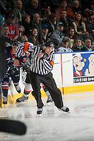 KELOWNA, CANADA - JANUARY 27: Referee Jeff Ingram skates at the Kelowna Rockets against the Kamloops Blazers on January 27, 2017 at Prospera Place in Kelowna, British Columbia, Canada.  (Photo by Marissa Baecker/Shoot the Breeze)  *** Local Caption ***
