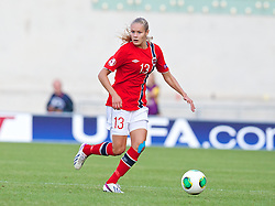 LLANELLI, WALES - Thursday, August 22, 2013: Norway's Andrine Tomter in action against Finland during the Group B match of the UEFA Women's Under-19 Championship Wales 2013 tournament at Parc y Scarlets. (Pic by David Rawcliffe/Propaganda)