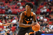 LUBBOCK, TX - MARCH 1: Andrew Jones #1 of the Texas Longhorns handles the ball during the game against the Texas Tech Red Raiders on March 1, 2017 at United Supermarkets Arena in Lubbock, Texas. Texas Tech defeated Texas 67-57. (Photo by John Weast/Getty Images) *** Local Caption *** Andrew Jones