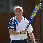 Arthur Newnham, Australia, in action in the 85 Mens Singles during the 2009 ITF Super-Seniors World Team and Individual Championships at Perth, Western Australia, between 2-15th November, 2009.