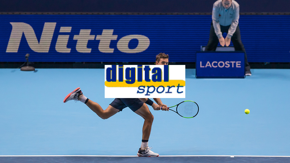 Tennis - 2019 Nitto ATP Finals at The O2 - Day Two<br /> <br /> Doubles Group Max Mirnyi: Kevin Krawietz (GER) & Andreas Mies (GER) Vs. Jean-Julien Rojer (NED) & Horia Tecau (ROM)<br /> <br /> Kevin Krawietz (GER) races across court to return serve <br /> <br /> COLORSPORT/DANIEL BEARHAM
