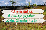 Sign in Bahia Honda, Artemisa, Cuba.