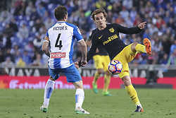 April 22, 2017 - Barcelona, Spain - Antoine Griezmann and Victor Sanchez during the match between RCD Espanyol vs Atletico Madrid, for the round 33 of the Liga Santander, played at RCD Espanyol Stadium on 22th April 2017 in Barcelona, Spain. (Credit Image: © Anna Trigueros/NurPhoto via ZUMA Press)