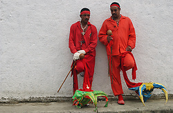 Venezuela is dotted with towns that celebrate Corpus Christi with a two day devil dancing celebration.  Community members, dressed as devils, first dance in front of the Church asking for forgiveness from their sins.  They then parade through the town dancing making stops at a various homes along the way.  The houses all have stands with religious symbols and candles in front of which  the Devil Dancers pray and beg forgiveness    It is considered an honor to dance during the celebration.