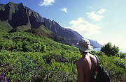 Hiking, Kalalau Valley, Napali Coast Kauai, Hawaii<br />