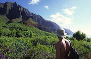 Hiking, Kalalau Valley, Napali Coast Kauai, Hawaii<br />