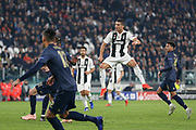 Juventus Forward Cristiano Ronaldo shoots at goal during the Champions League Group H match between Juventus FC and Manchester United at the Allianz Stadium, Turin, Italy on 7 November 2018.