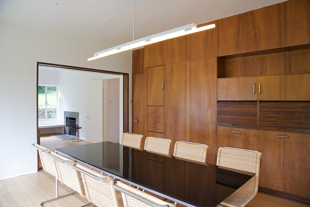 The dining room looking through to the living room at Warren House, Wayne McGregor's Dartington Estate home in Devon<br /> Vanessa Berberian for The Wall Street Journal