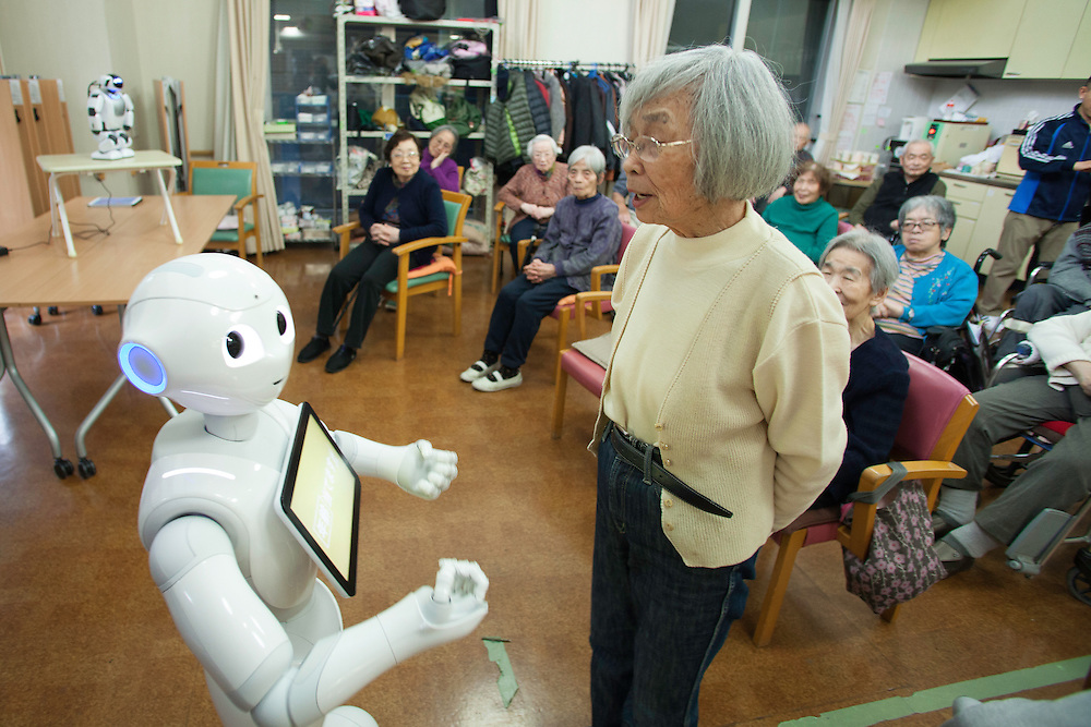 Silver Wings Senior Care Center . the center one of the  first in tokyo to take advantage of robots and other mecihinal assit devices.. Peppeer a larger more life size robot which has been created to make people happy to interact with. He's an emotional robot  who will help people grow, enhance their life, facilitate relationship, acording to  Aidebaran Robotics the robots developer.