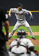 May 8, 2018 - Milwaukee, WI, U.S. - MILWAUKEE, WI - MAY 08: Cleveland Indians Starting pitcher Corey Kluber (28) throws to 1st during a MLB game between the Milwaukee Brewers and Cleveland Indians on May 8, 2018 at Miller Park in Milwaukee, WI.(Photo by Nick Wosika/Icon Sportswire) (Credit Image: © Nick Wosika/Icon SMI via ZUMA Press)