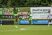 Forest Green Rovers Keanu Marsh-Brown (7)shoots at goal during the Vanarama National League match between Forest Green Rovers and Bromley FC at the New Lawn, Forest Green, United Kingdom on 17 September 2016. Photo by Shane Healey.