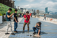 Hong Kong ,China - June 9, 2014: people tourist Avenue of Stars Tsim Sha Tsui