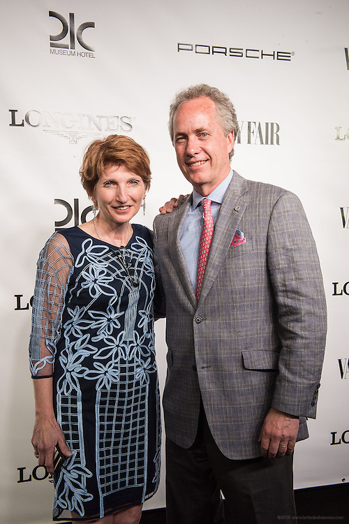 Louisville Mayor Greg Fischer and wife Alexandra Gerassimides is seen on the black carpet at the Vanity Fair Derby party at 21c Museum Hotel. May 6, 2016