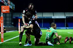 James Short of Exeter Chiefs celebrates scoring his sides fifth try of the game - Mandatory by-line: Ryan Hiscott/JMP - 25/11/2019 - RUGBY - Sandy Park - Exeter, England - Exeter Braves v Harlequins - Premiership Rugby Shield