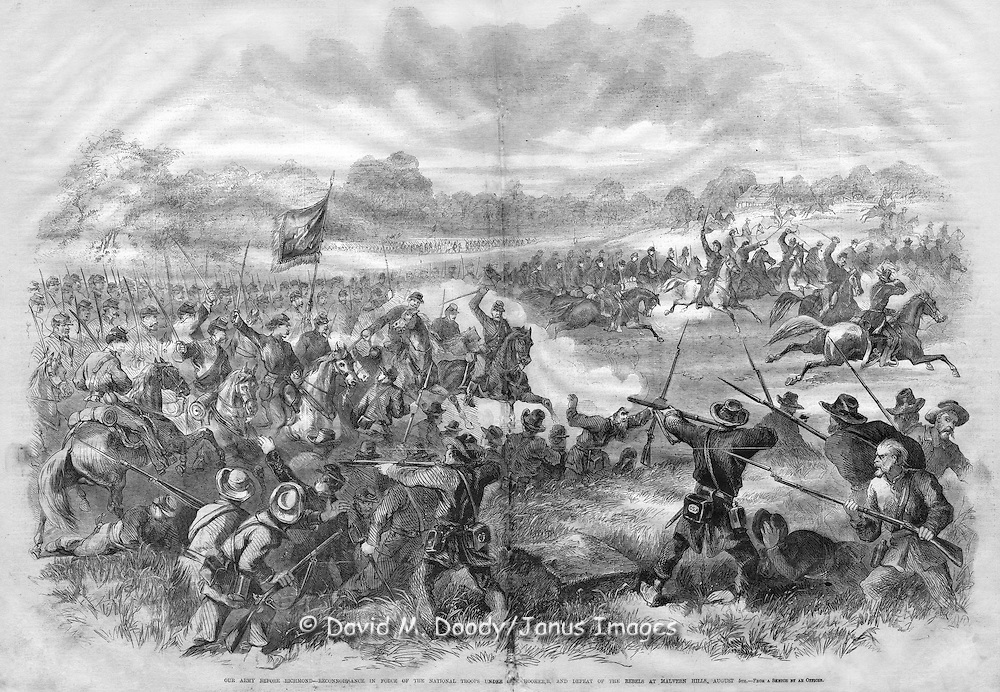 Union forces near Richmond after the Civil War battle of Malvern Hill, Virginia from Frank Leslie's Illustrated News. August 1862