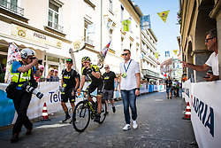 Luka Mezgec (SLO) of Mitchelton - Scott celebrates and Vid Ponikvar - photographer during 2nd Stage of 26th Tour of Slovenia 2019 cycling race between Maribor and Celje (146,3 km), on June 20, 2019 in Slovenia.. Photo by Matic Klansek Velej / Sportida