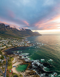 April 17, 2020: Aerial view of sunset at camps bay, South Africa. (Credit Image: © Amazing Aerial via ZUMA Wire)