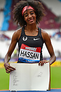 Sifan Hassan of the Netherlands shows  her signature in the Millicent Fawcett book during the Muller Anniversary Games, Day Two, at the London Stadium, London, England on 22 July 2018. Picture by Martin Cole.