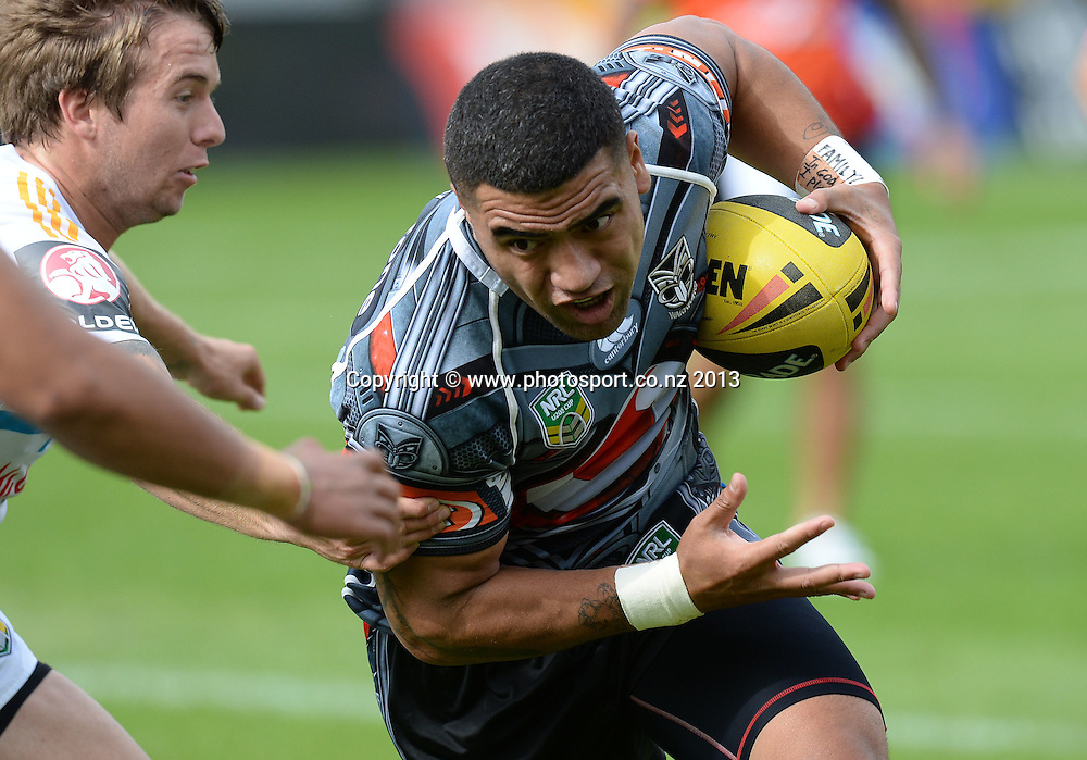 Stedman Lefau takes the ball forward. Holden Cup Rugby League match, Vodafone Junior Warriors v Junior Titans at Mt Smart Stadium, Auckland, New Zealand on Sunday 5 May 2013. Photo: Andrew Cornaga/Photosport.co.nz