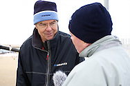 ENGLAND, Weymouth, Weymouth and Portland National Sailing Academy, 22nd October 2010, Weymouth Speed Week. Thomas Jundt, Skipper of Mirabaud LX (left) talks with journalist Matt Sheahan.