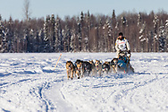 Musher Matt Failor after the restart in Willow of the 46th Iditarod Trail Sled Dog Race in Southcentral Alaska.  Afternoon. Winter.