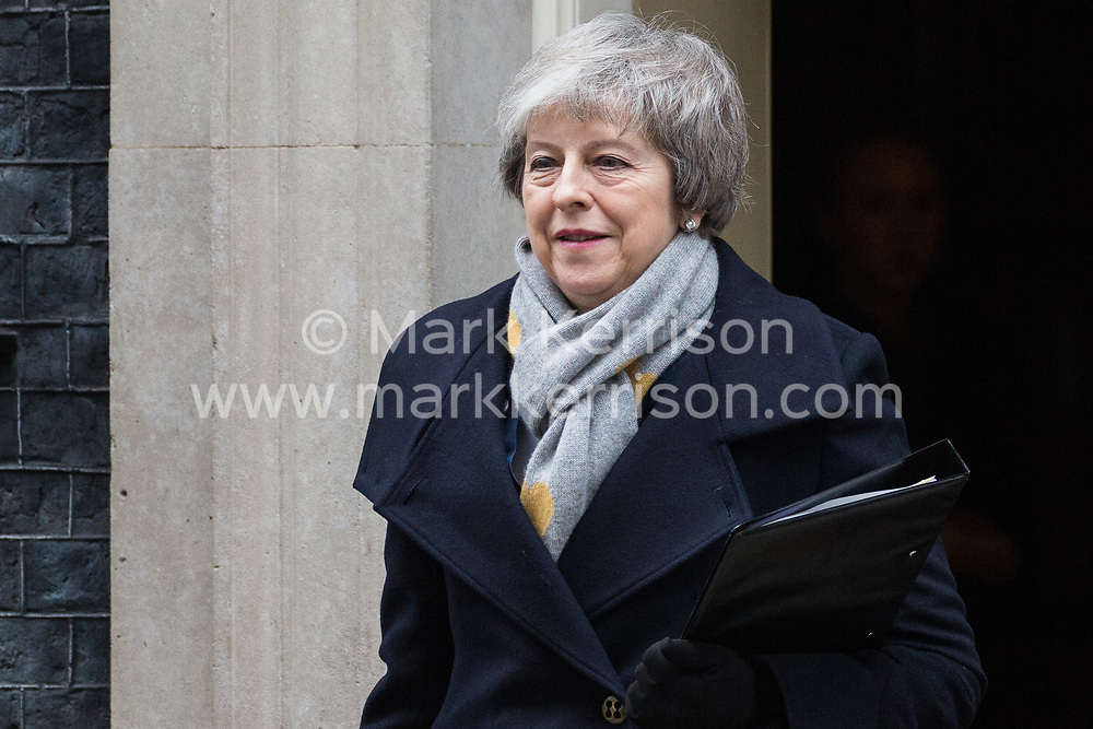 London, UK. 15th January, 2019. Prime Minister Theresa May leaves 10 Downing Street to attend the final day of the House of Commons debate which will precede the vote on her proposed final Brexit withdrawal agreement.