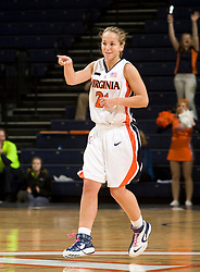 Virginia guard Tara McKnight (21) reacts after hitting a three pointer.  The Virginia Cavaliers women's basketball team defeated the Morehead State Eagles 88-43 at the John Paul Jones Arena in Charlottesville, VA on February 4, 2008.