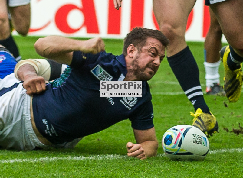 Greig Laidlaw celebrates scoring the winning try for Scotland during the Rugby World Cup match between Scotland and Samoa (c) ROSS EAGLESHAM | Sportpix.co.uk