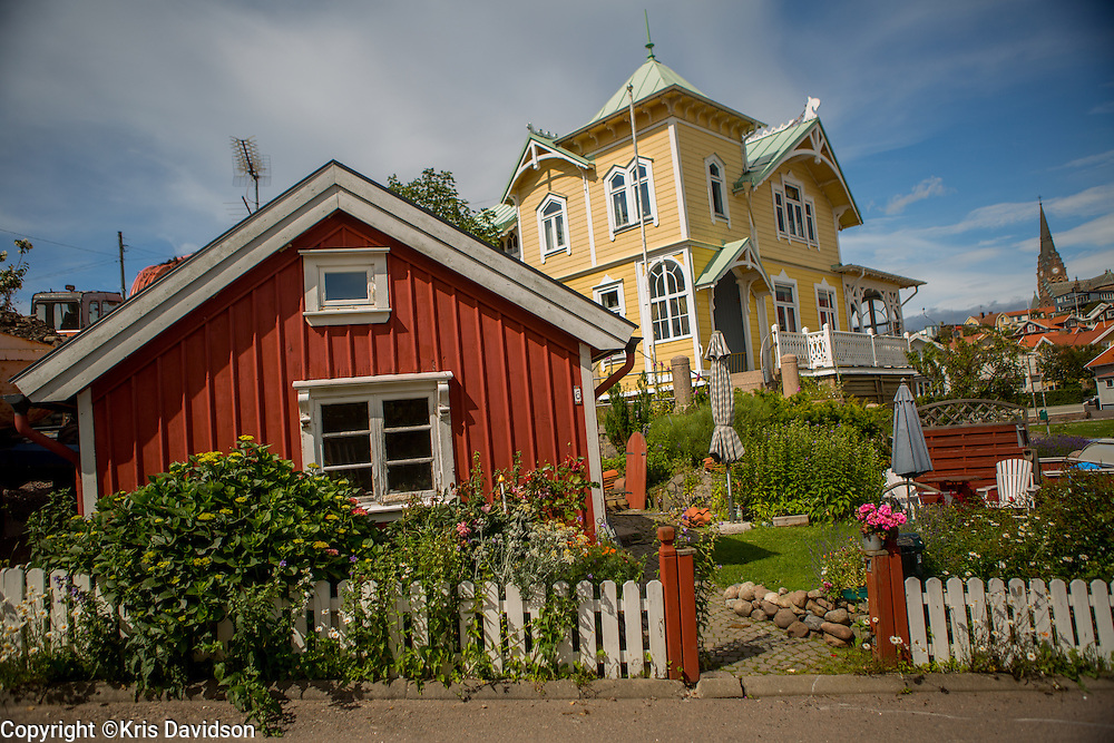 Homes on a hill in the picturesque coastal town of Lysekil on Sweden's west coast.