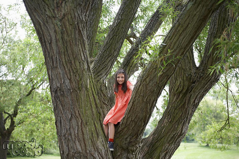 Girl (7-9) standing in tree portrait