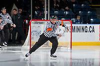 KELOWNA, CANADA - FEBRUARY 1: Referee Mark Pearce enters the ice at the Kelowna Rockets against the Calgary Hitmen on February 1, 2017 at Prospera Place in Kelowna, British Columbia, Canada.  (Photo by Marissa Baecker/Shoot the Breeze)  *** Local Caption ***
