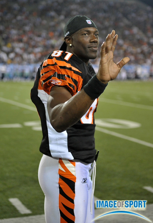 Aug 8, 2010; Canton, OH, USA; Cincinnati Bengals receiver Terrell Owens (81) watches on the sidelines in the fourth quarter of the preseason game against the Dallas Cowboys at Fawcett Stadium. Photo by Image of Sport