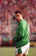 Irish International soccer player Paul McGrath playing at Landsdowne Road in Dublin in early 1990's Pic:Marc O'Sullivan