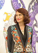 Roslyn, New York, U.S. September 13, 2019. CHANDRI BARAT speaks at ANIMODULES Agents of Peace exhibit Farewell Reception and Founders' talk by Gary Barat and Chandri Barat, at the Nassau County Museum of Art's Manes Art & Education Center, named for Dr. Harvey Manes, who was in attendance and spearheaded the exhibit.