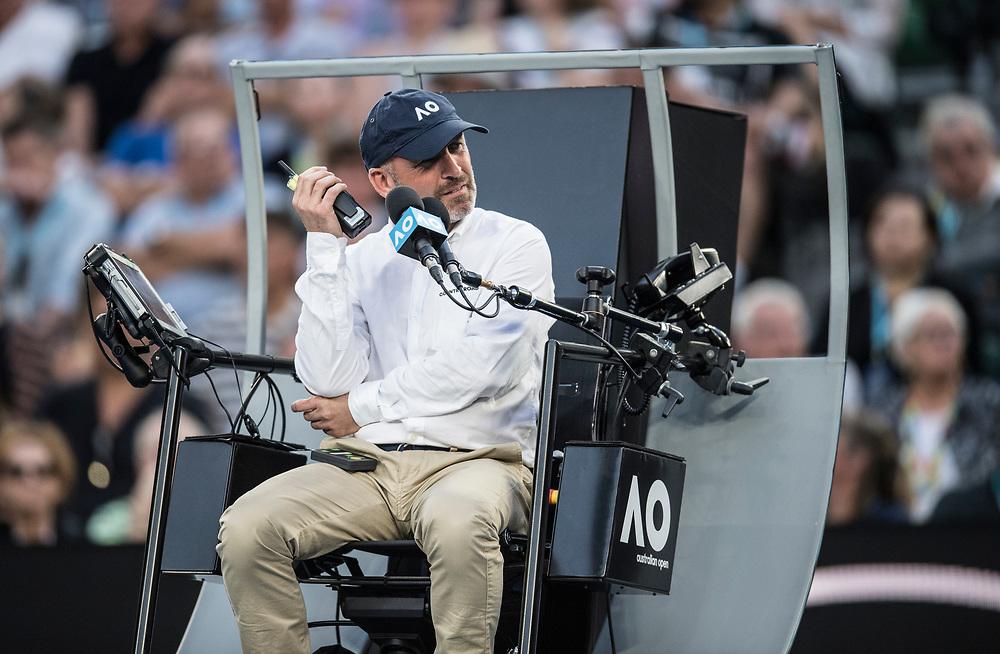 A chair umpire on day ten of the 2018 Australian Open in Melbourne Australia on Wednesday January 24, 2018.<br /> (Ben Solomon/Tennis Australia)