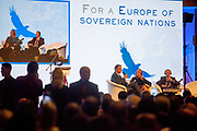 "During the conference inside ""Top Hotel"" in Prague's quater Chodov. High security arrangements made it difficult for journalist to report - they were not allowed to move inside the conference of the European anti-migrant parties ""Europe of Nations and Freedom"" (ENF). Attending were Marie Le Pen from France, Geert Wilders from Holland and Tomio Okamura of the Freedom and Direct Democracy (SPD) movement from Czech Republic which was hosting the meeting."