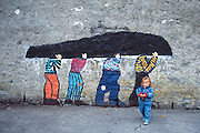 Mural and child Kinvara village Ireland