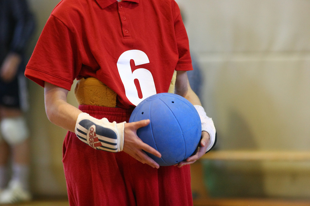 "Serbischer Goalball Spieler mit einer Schaumstoff Einlage gegen das Rutschen seiner zu großen Hose beim internationalen Goalball Turnier in Zagreb die Augen ""getaped"" um die Chancengleichheit zu wahren. Goalball ist eine Mannschaftssportart für blinde und sehbehinderte Menschen und wurde vom Österreicher Hans Lorenzen und dem deutschen Sepp Reindle für Kriegsinvalide entwickelt und zum ersten Mal 1946 gespielt. Die Bilder entstanden auf zwei internationalen Goalball Turnieren in Budapest und Zagreb 2007.<br /> <br /> Serbian player with a foam padding to be able to wear a bigger trouser on his thin body during the international Goalball tournament in Zagreb. Goalball is a team sport designed for blind and visually impaired athletes. It was devised by an Austrian, Hanz Lorenzen, and a German, Sepp Reindle, in 1946 in an effort to help in the rehabilitation of visually impaired World War II veterans. The International Blind Sports Federatgion (IBSA - www.ibsa.es), responsible for fifteen sports for the blind and partially sighted in total, is the governing body for this sport. The images were made during two Goalball tournaments in Budapest and Zahreb 2007."