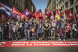 May 1, 2019 - Barcelona, Catalonia, Spain - Communist protestors gather to chant 'The Internationale' during a manifestation organized by the mayor unions CC.OO and UGT through the city center of Barcelona to protest for more rights, equality and cohesion under the motto 'the persons first' on 1st of May. (Credit Image: © Matthias Oesterle/ZUMA Wire)