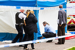 Apparent Health and Safety Exective inspectors are on the scene as a police cordon surrounding a forensics tent remains in place outside The Corniche on the Albert Embankment in London after a window pane fell yesterday morning killing passing coach driver Mick Ferris. Albert Embankment, London, October 03 2018.