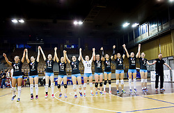 Players of Calcit celebrate after winning final match between Calcit Ljubljana and Nova KBM Branik Maribor in 1st DOL Women League 2015/16, on May 9, 2016, in Arena Tivoli, Ljubljana, Slovenia. OK Calcit Ljubljana became Slovenian Champions 2016. Photo by Vid Ponikvar / Sportida