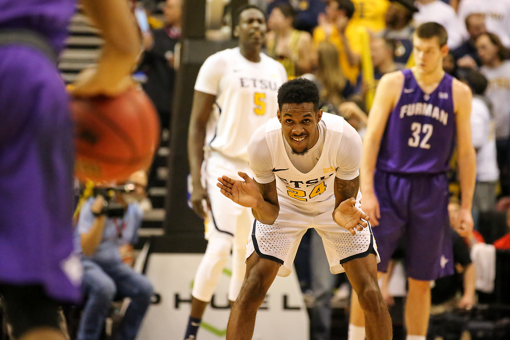 March 4, 2018 - Asheville, North Carolina - U.S. Cellular Center: ETSU guard Jermaine Long (24)<br /> <br /> Image Credit: Dakota Hamilton/ETSU
