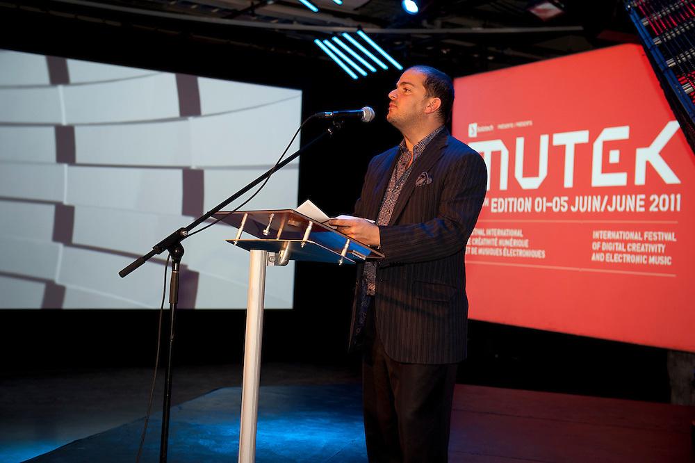 Lancement du festival MUTEK 2011, Stéphane Laroche du CALQ (Conseil des Arts et Lettres du Québec).
