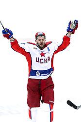 Alexander Radulov of CSKA Moscow celebrates during KHL League ice hockey match between HK Slovan Bratislava and CSKA Moscow, on February 27, 2015 in Ondrej Nepela Arena, Bratislava, Slovakia. Photo by Matic Klansek Velej / Sportida