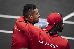 September 21, 2018 - Chicago, Illinois, U.S - Team World team mates FRANCES TIAFOE of the United States and NICK KYRGIOS of Australia watch the match together during the third singles match on Day One of the Laver Cup at the United Center in Chicago, Illinois. (Credit Image: © Shelley Lipton/ZUMA Wire)