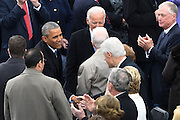 President Barack Obama greets former President Bill Clinton as he arrive for the 68th President Inaugural Ceremony on Capitol Hill January 20, 2017 in Washington, DC. Donald Trump became the 45th President of the United States in the ceremony.
