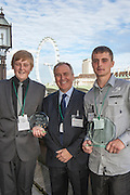 Paul Chandler, CEO of Skanska with Ryan Andrews. Winner of the Young Builder of the year award (14 - 16 category) and Steven Ellis. Winner of the Young Builder of the year award (16 - 24 category)