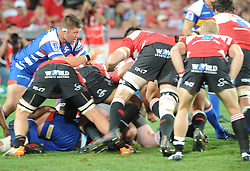 070418 Emirates Airlines Park, Ellis Park, Johannesburg, South Africa. Super Rugby. Lions vs Stormers. Stormers Pieter-Steph du Toit over a loose scrum.<br />Picture: Karen Sandison/African News Agency (ANA)