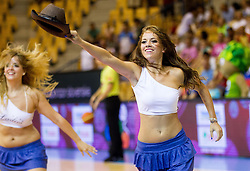 Cheerleaders Ladies perform during friendly match between National teams of Slovenia and Latvia for Eurobasket 2013 on August 2, 2013 in Arena Zlatorog, Celje, Slovenia. (Photo by Vid Ponikvar / Sportida.com)